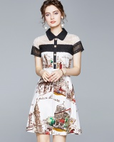 Lace printing summer splice pinched waist skirt for women