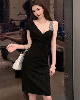 Splice sexy France style pinched waist slim ladies dress