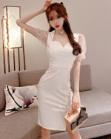 Western style ladies heart-shaped pinched waist long sexy dress