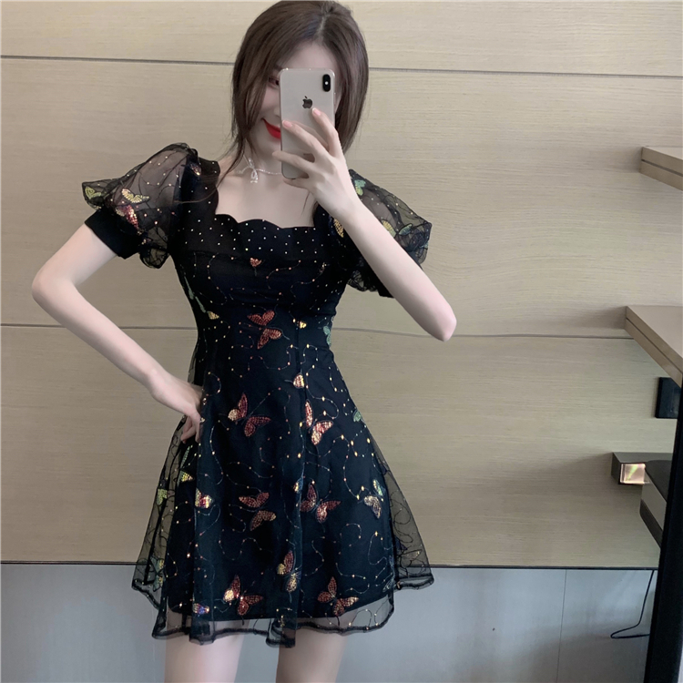 Black France style short sleeve slim dress