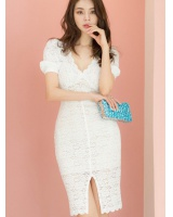 Split summer package hip lace V-neck slim dress for women