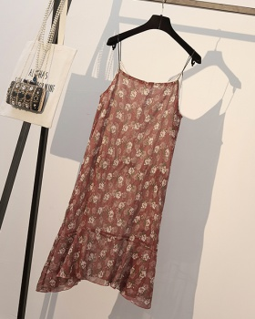 Korean style floral dress sling T-shirt a set for women