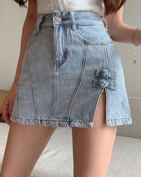 High waist retro side split skirt denim package hip culottes