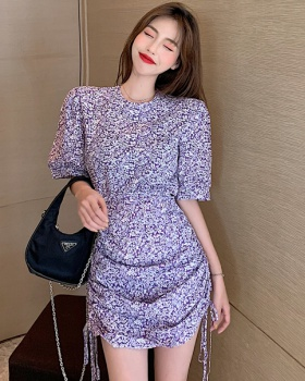 Slim floral pinched waist purple summer short dress