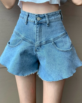 Loose wide leg pants denim slim shorts for women