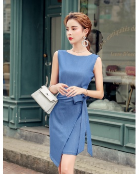 Asymmetry slim bow package hip bandage summer dress