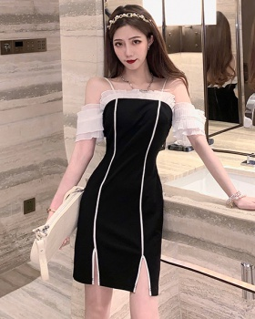 Horizontal collar mixed colors lotus leaf edges dress
