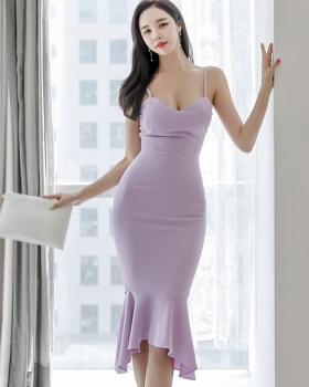 Lotus leaf edges mermaid sexy summer slim Korean style dress
