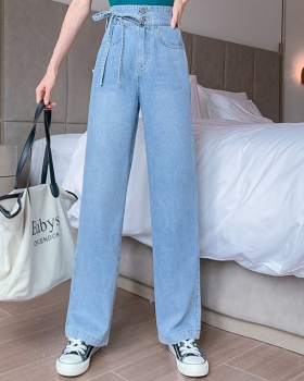 Straight simple wide leg pants slim jeans for women