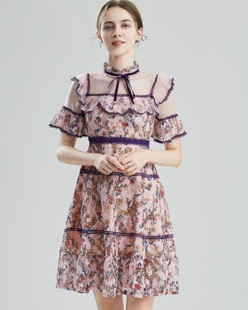 Cstand collar gauze printing splice lace dress