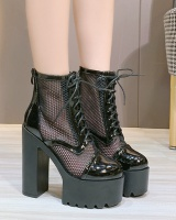 Mesh show high-heeled platform thick thick crust hollow shoes