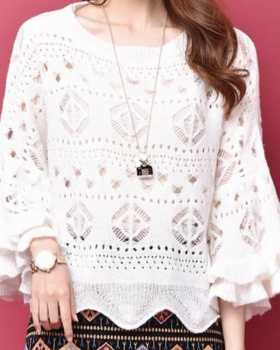 Short sleeve refreshing sweater hollow tops for women