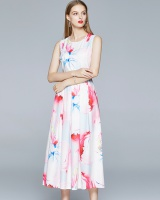 European style temperament pinched waist printing dress