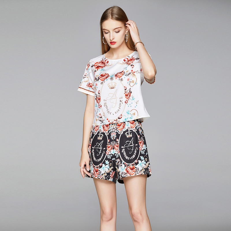 Short sleeve high waist Casual fashion summer shorts 2pcs set