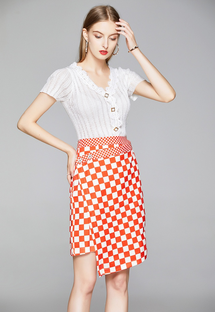 Collocation knitted fashion short skirt 2pcs set
