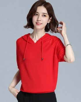 Thin hooded sweater short sleeve summer T-shirt for women