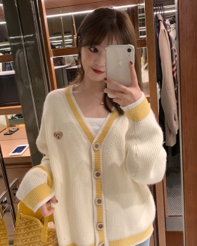 Korean style yellow V-neck cardigan short spring sweater