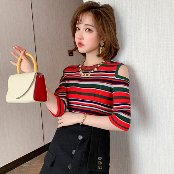 Spring strapless tops slim sexy sweater for women