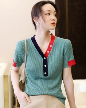 Slim short sleeve tops screw thread unique sweater