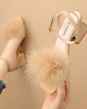All-match thick sandals elmo fashion high-heeled shoes