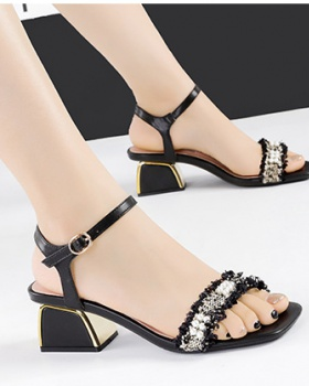 All-match high-heeled shoes open toe sandals for women