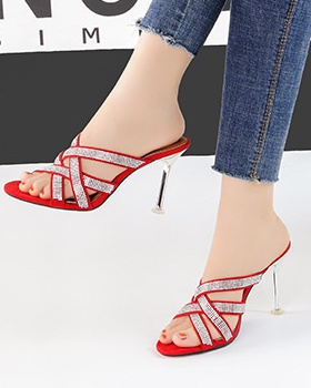 Rhinestone high-heeled shoes fine-root sandals for women