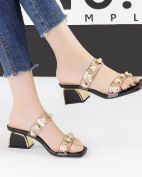 Open toe thick high-heeled shoes transparent sandals for women