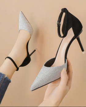 Pointed Korean style high-heeled shoes low sexy sandals