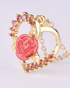 Rhinestone rose heart short creative zircon clavicle necklace