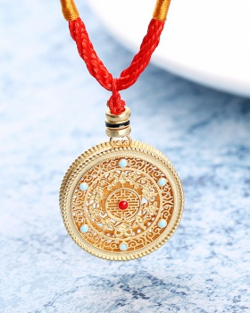 Round colors gold necklace mosaic pendant accessories