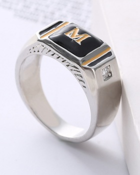 Domineering double color diamond simple ring for men