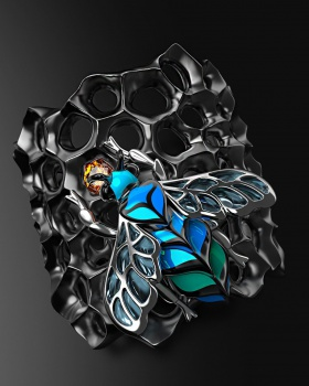 Creative exaggeration European style honeycomb Punk style ring