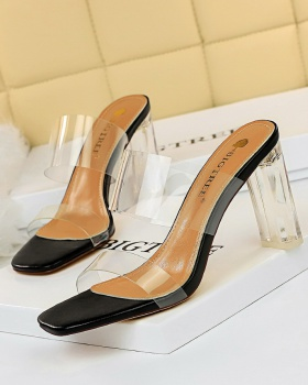 Transparent slippers open toe high-heeled shoes for women