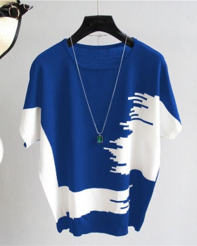 Knitted short sleeve T-shirt Korean style summer bottoming shirt