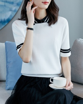 Thin short sleeve bottoming shirt ice silk tops for women