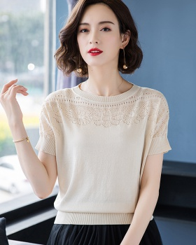 Short sleeve ice silk tops short middle-aged sweater