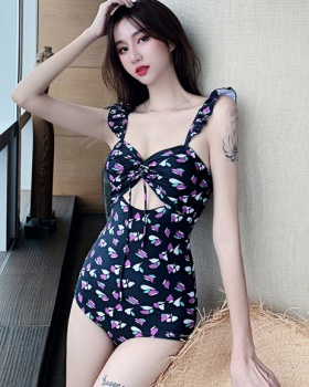 Conjoined fungus lace printing slim retro swimwear