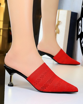 Pointed hollow slippers retro stilettos for women