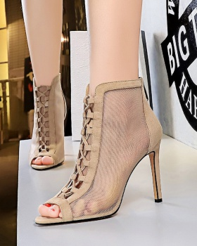 Hollow slim summer boots fish mouth sexy stilettos
