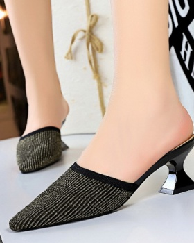 Fashion high-heeled lounger square head woolen yarn slippers