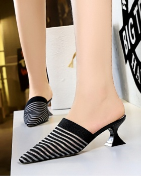 Small square head hollow thick high-heeled slippers