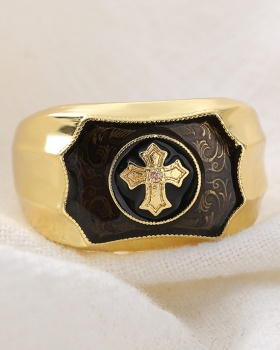 European style creative simulation gold crosses agate ring for men