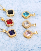 Clover gold clavicle short inlay pendant accessories for women