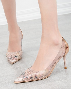 Rhinestone high-heeled shoes simple sandals for women