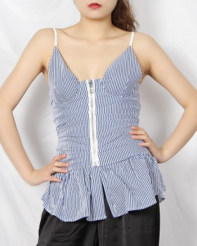 Retro fashion summer tops fold zip shirt for women