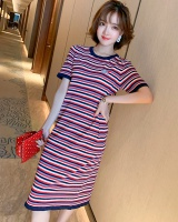 Mixed colors knitted T-shirt exquisite dress for women