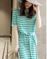 Unique tie knitted waist stripe simple round neck dress