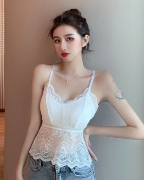 Sexy summer tops with chest pad crochet vest for women