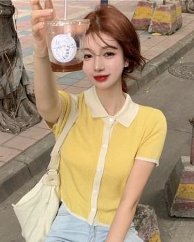 Thin summer cardigan knitted short sleeve T-shirt