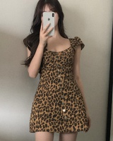 Leopard France style summer slim long playful dress for women